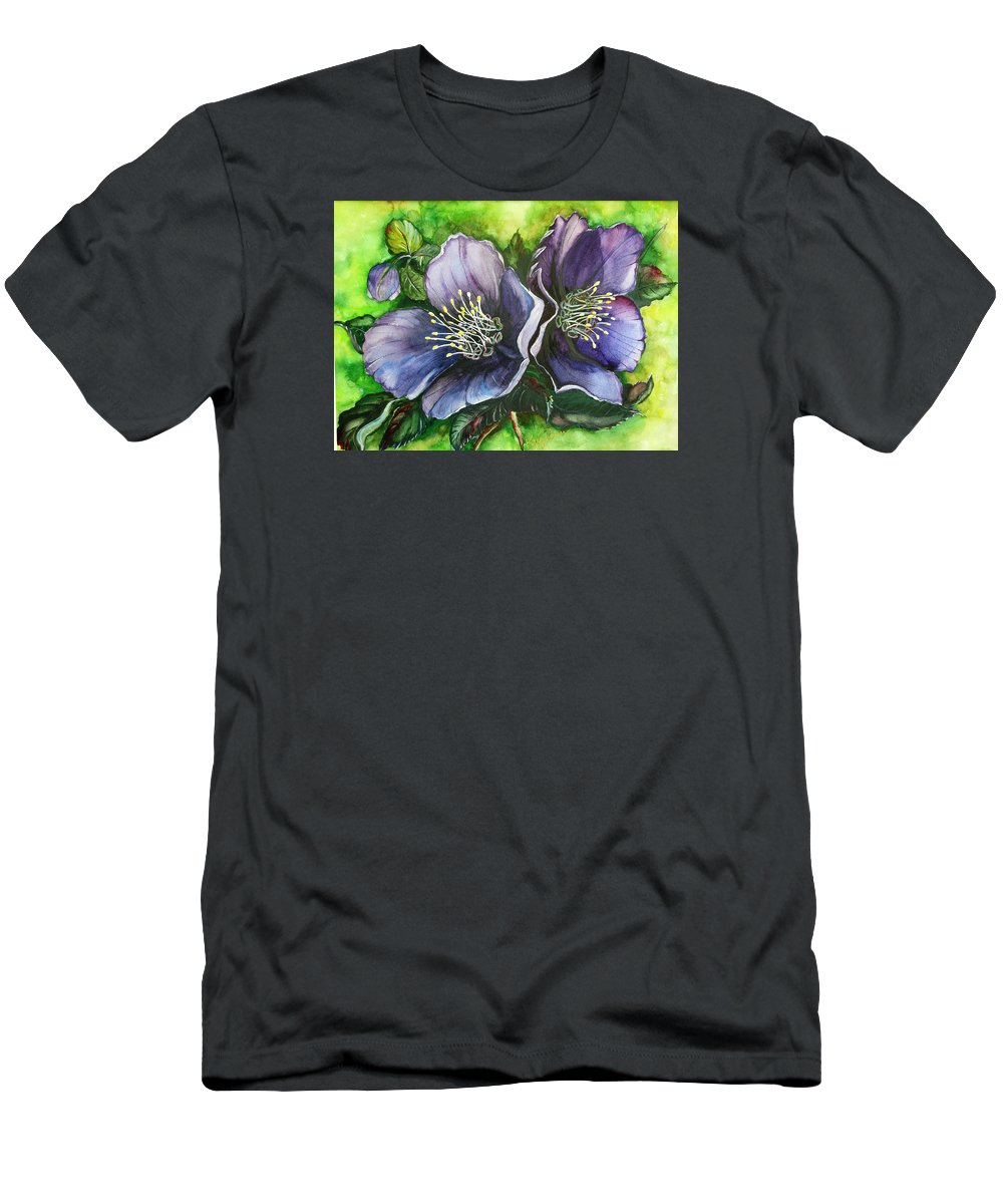 Flower Painting Botanical Painting Original W/c Painting Helleborous Painting Men's T-Shirt (Athletic Fit) featuring the painting Helleborous Blue Lady by Karin Dawn Kelshall- Best