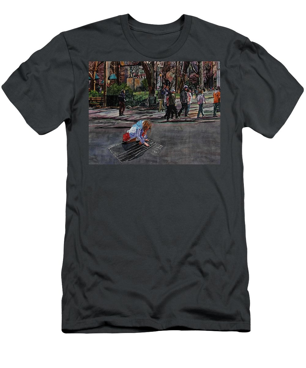 Political Men's T-Shirt (Athletic Fit) featuring the painting Help by Valerie Patterson