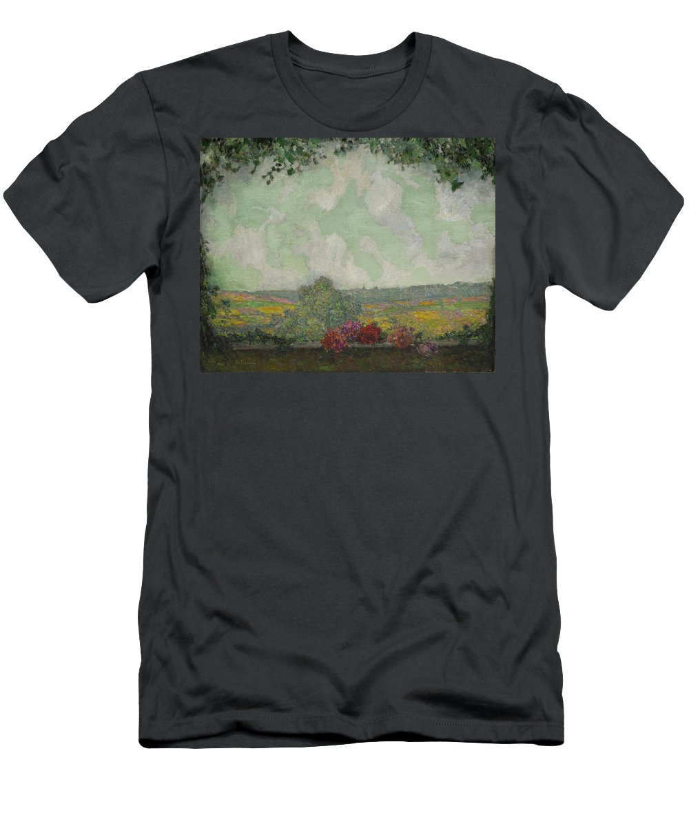 Henri Le Sidaner 1862 - 1939 View From The Terrace Men's T-Shirt (Athletic Fit) featuring the painting Henri Le Sidaner 1862 - 1939 View From The Terrace by Adam Asar