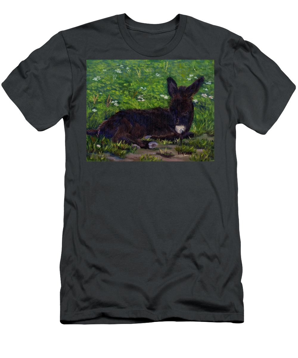 Donkey Men's T-Shirt (Athletic Fit) featuring the painting Hercules by Sharon E Allen