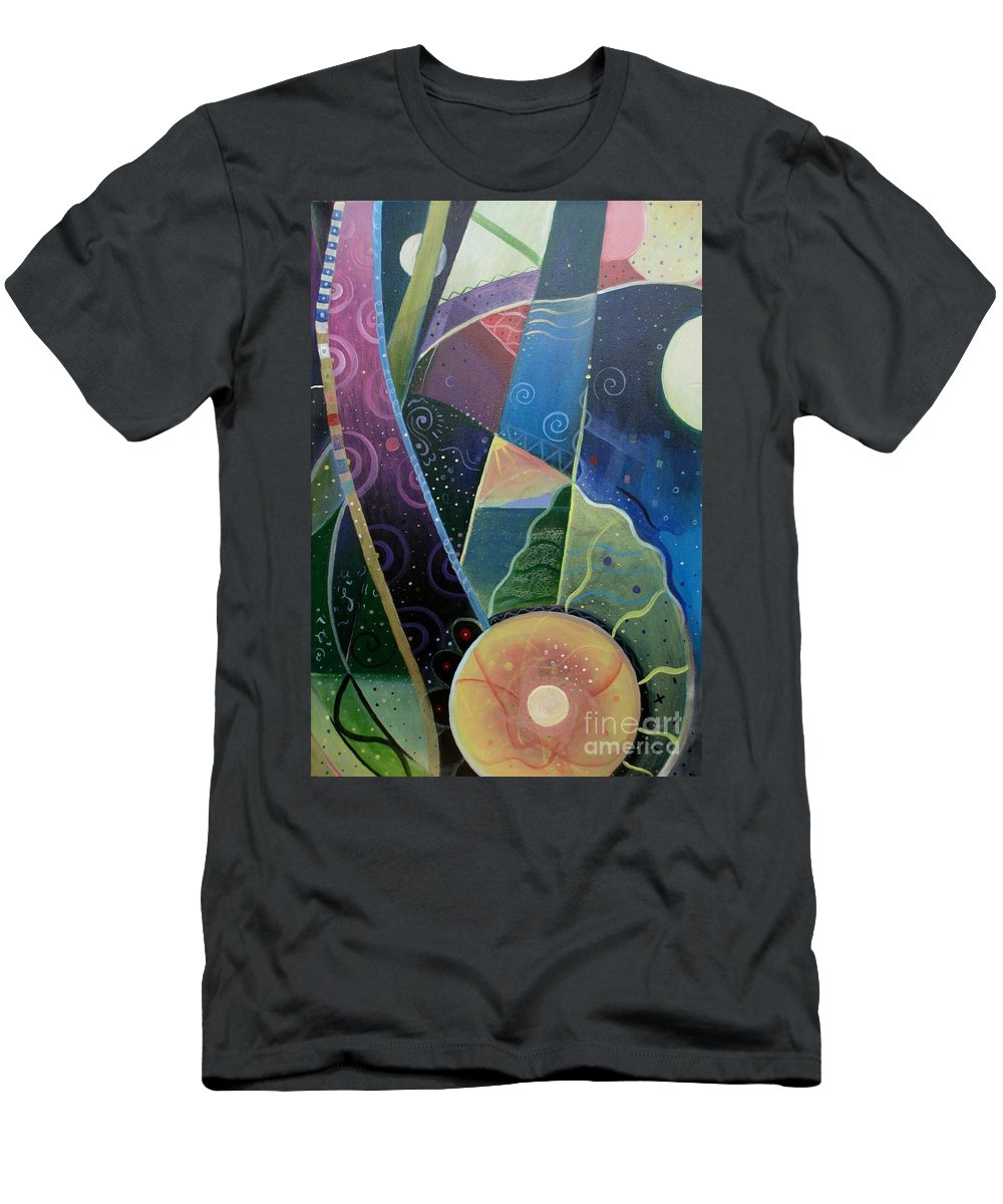 Multi-dimensional Men's T-Shirt (Athletic Fit) featuring the painting Here And There by Helena Tiainen