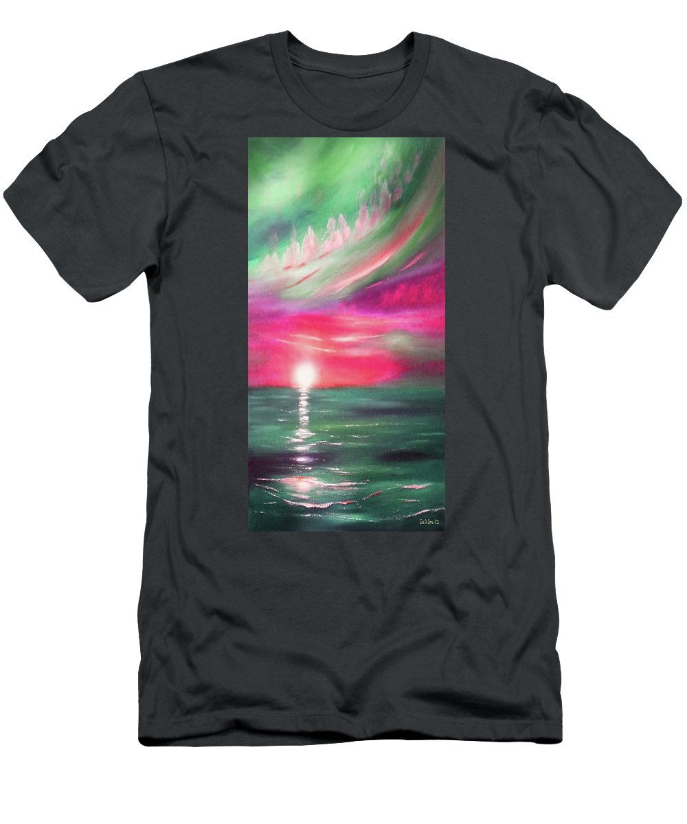 Sunset Men's T-Shirt (Athletic Fit) featuring the painting Here It Goes - In Teal And Magenta Vertical Sunset by Gina De Gorna