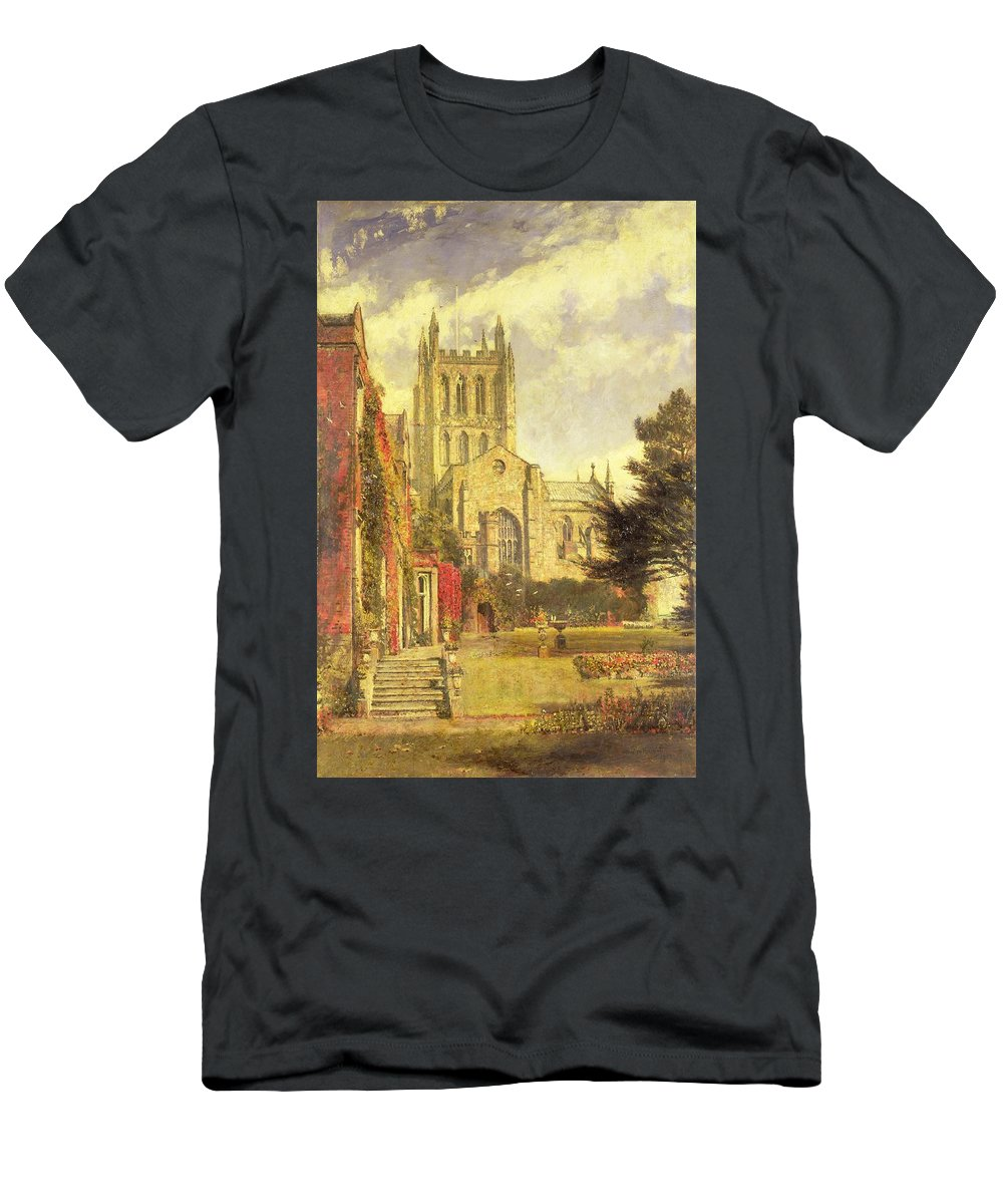 Hereford Men's T-Shirt (Athletic Fit) featuring the painting Hereford Cathedral by John William Buxton Knight