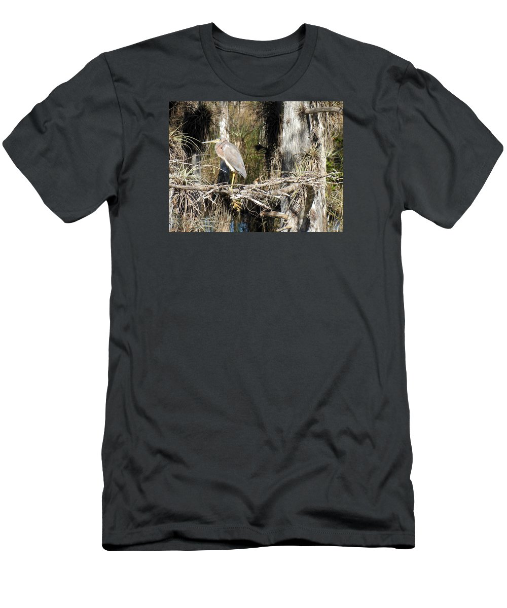 Heron Men's T-Shirt (Athletic Fit) featuring the photograph Heron In Everglades by Bonita Barlow