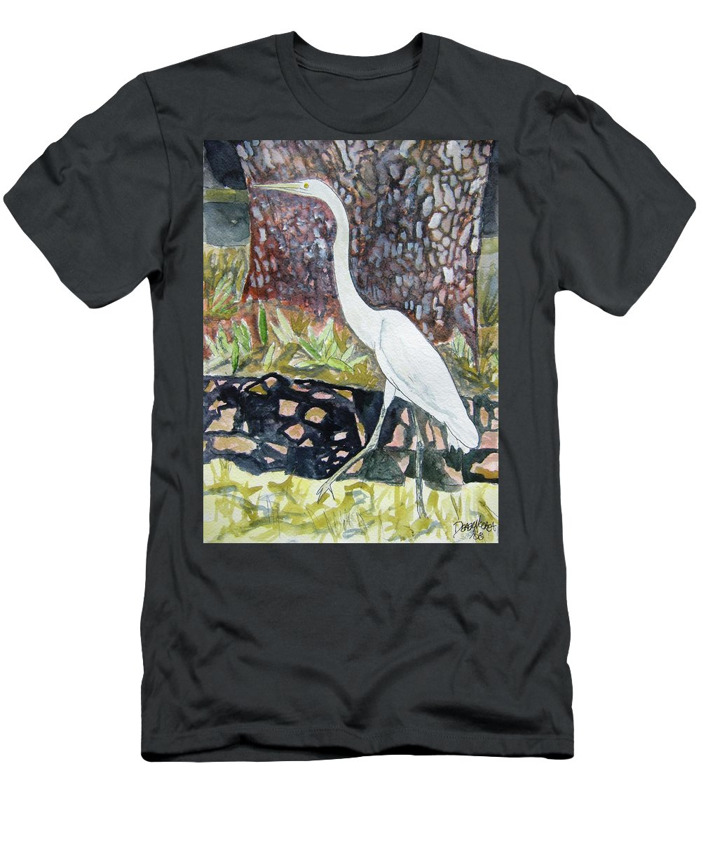 Bird Men's T-Shirt (Athletic Fit) featuring the painting Herron by Derek Mccrea