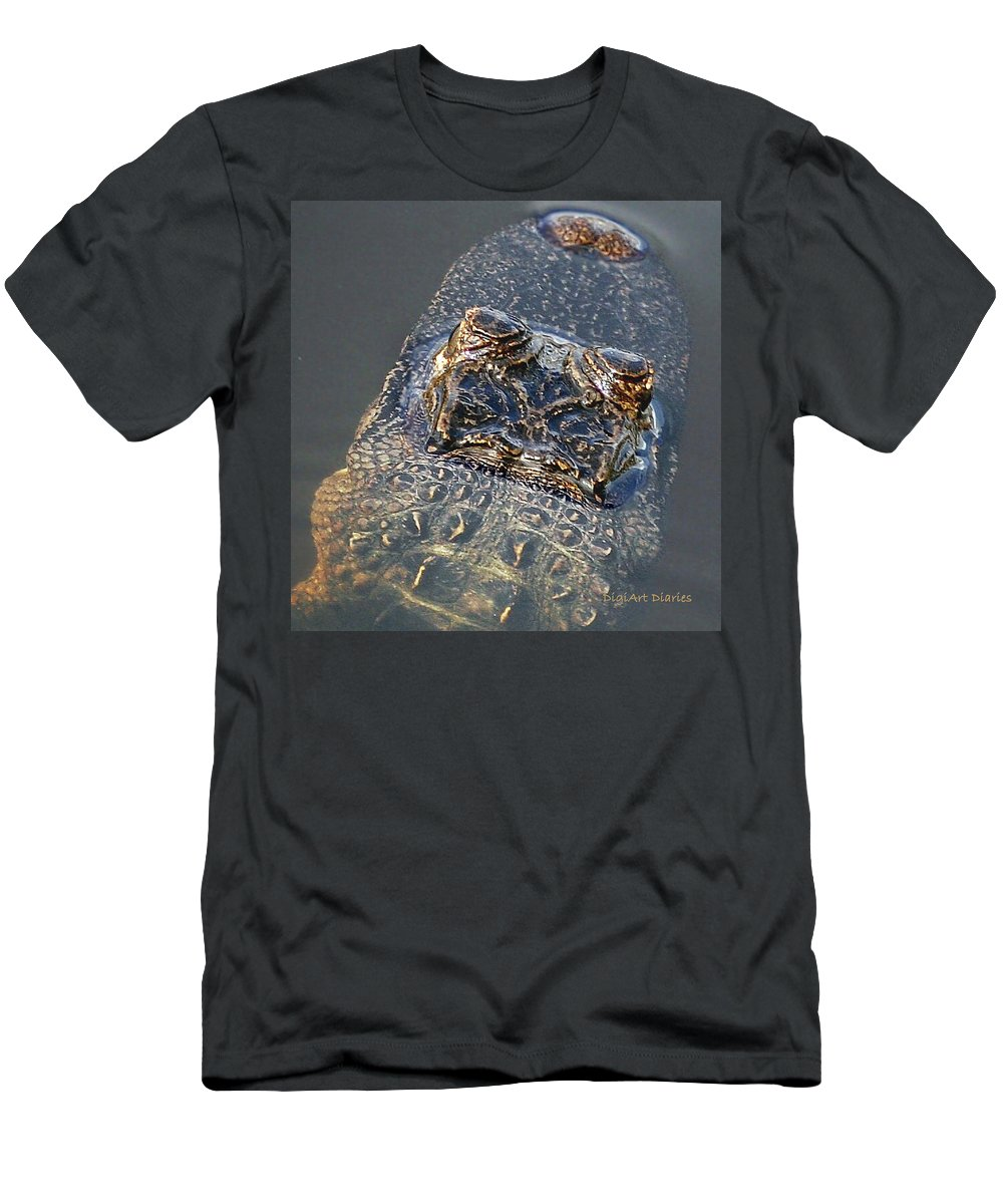 Alligator Men's T-Shirt (Athletic Fit) featuring the digital art Hes Watching You by DigiArt Diaries by Vicky B Fuller