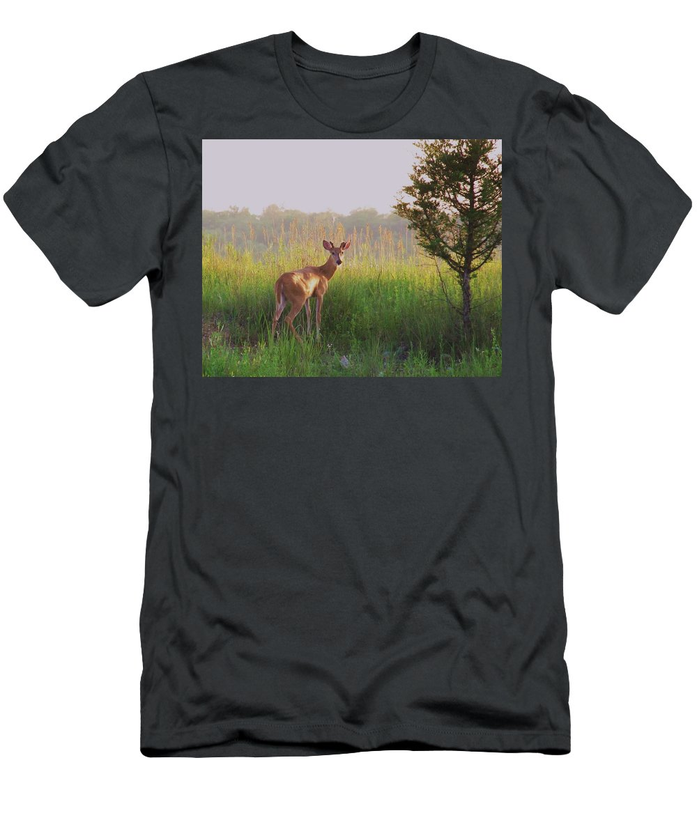 Deer Photograph Men's T-Shirt (Athletic Fit) featuring the photograph Hesitation by Marilyn Smith