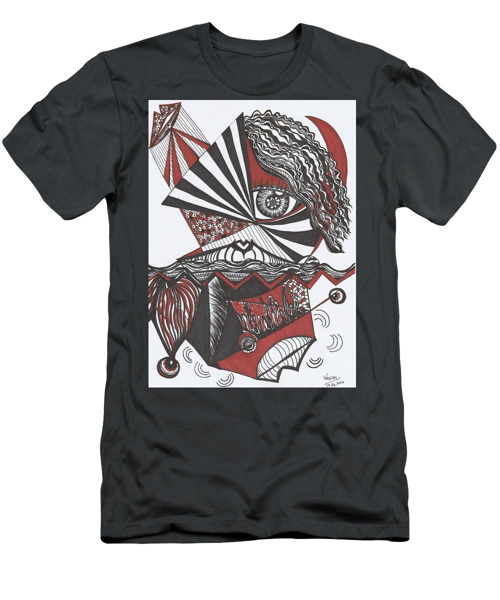 Red Men's T-Shirt (Athletic Fit) featuring the drawing Hidden by Natthanisha Sethaporn