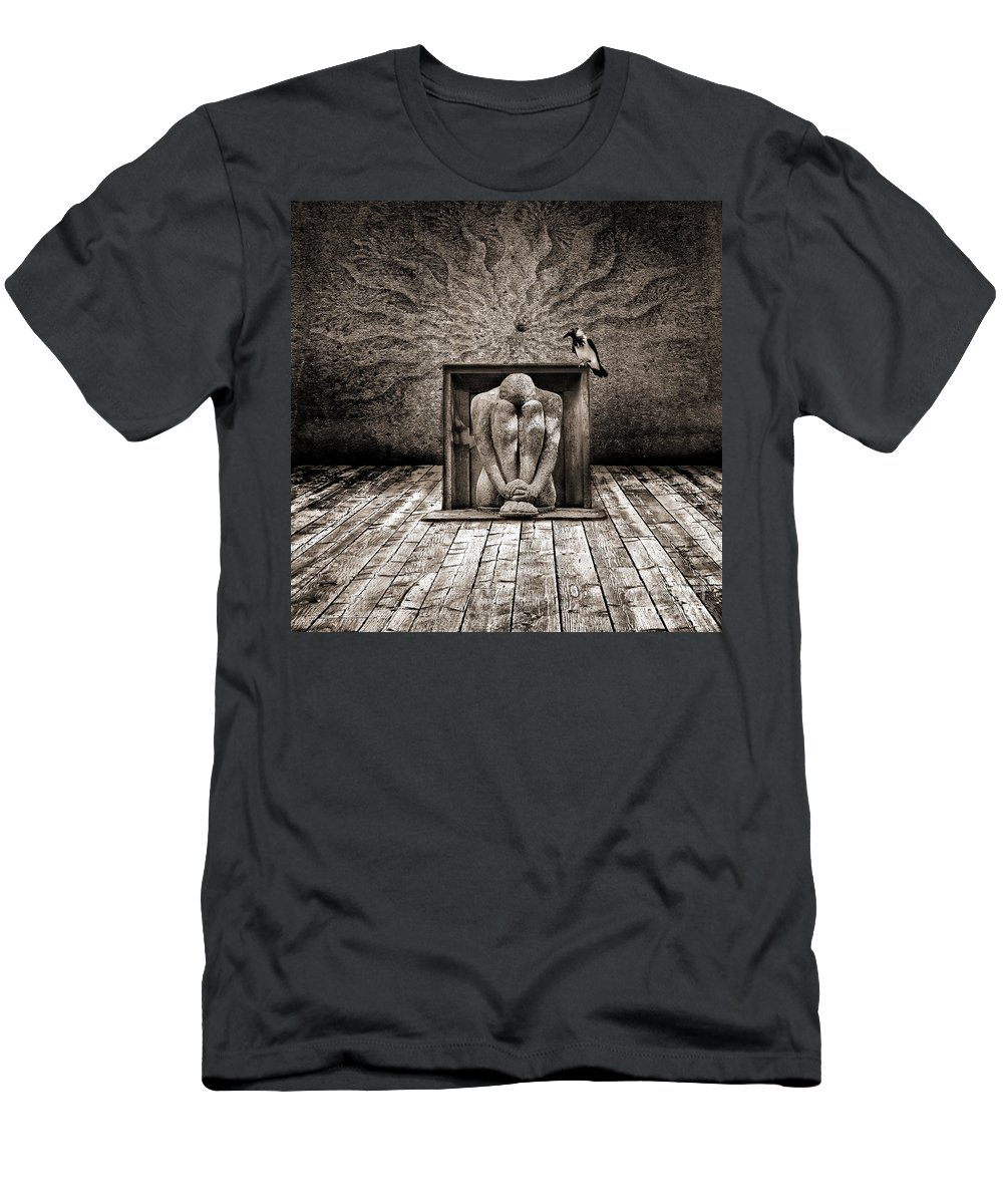 Dark Men's T-Shirt (Athletic Fit) featuring the digital art Hiding by Jacky Gerritsen