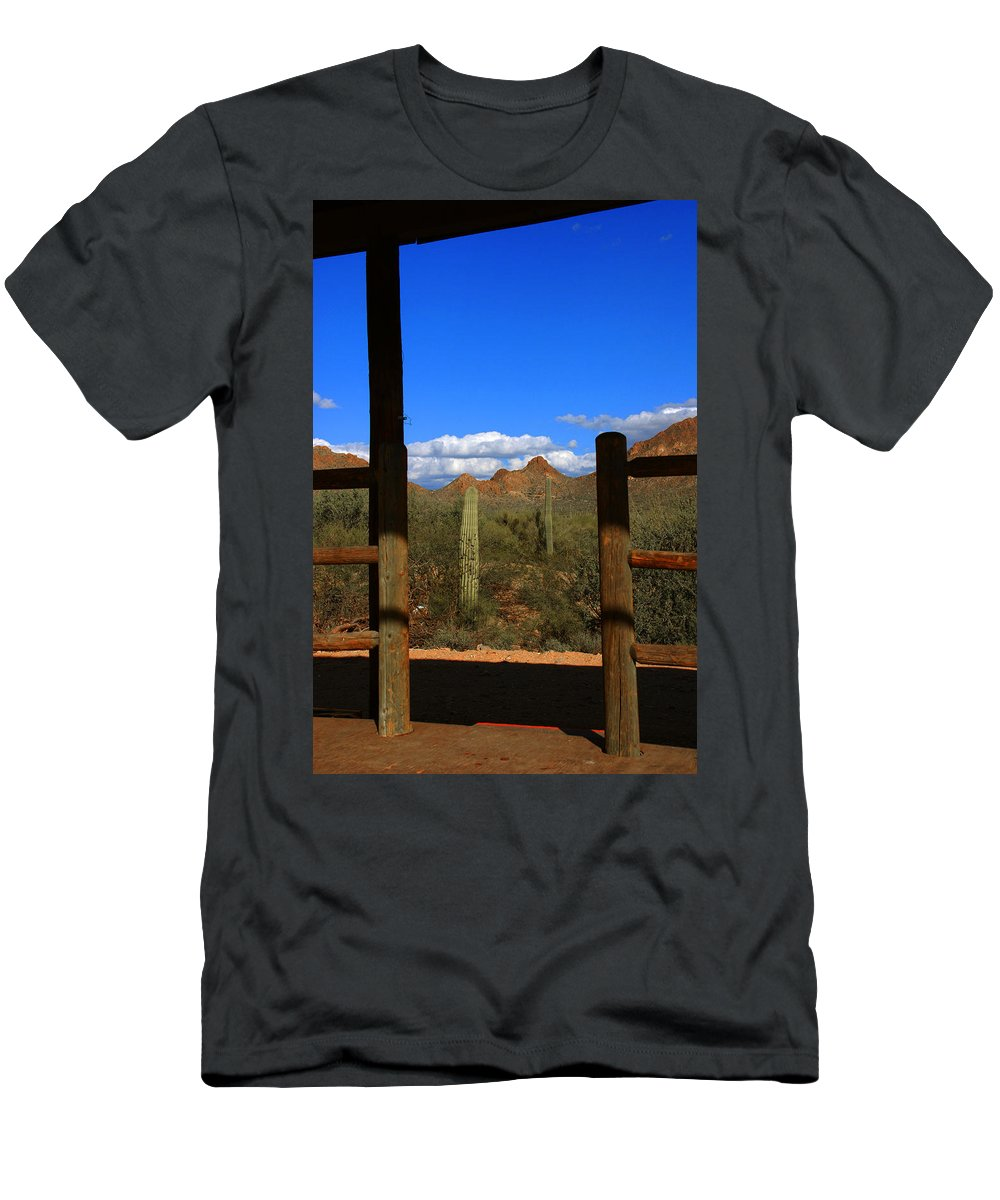 High Chaparral Men's T-Shirt (Athletic Fit) featuring the photograph High Chaparral - Mountain View by Susanne Van Hulst