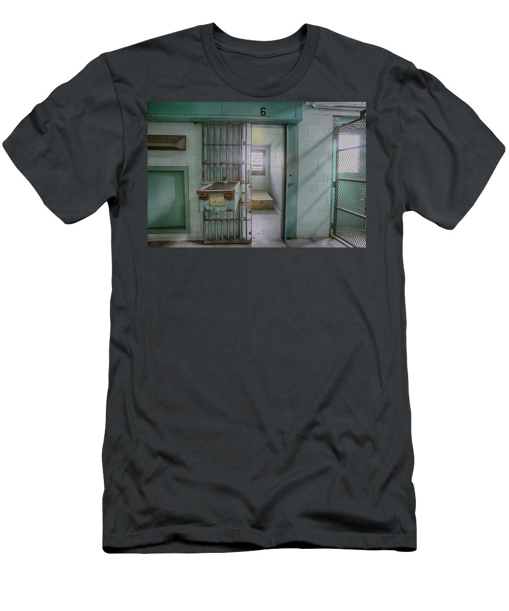 Abandoned Men's T-Shirt (Athletic Fit) featuring the photograph High Risk Solitary Confinement Cell In Prison by Karen Foley