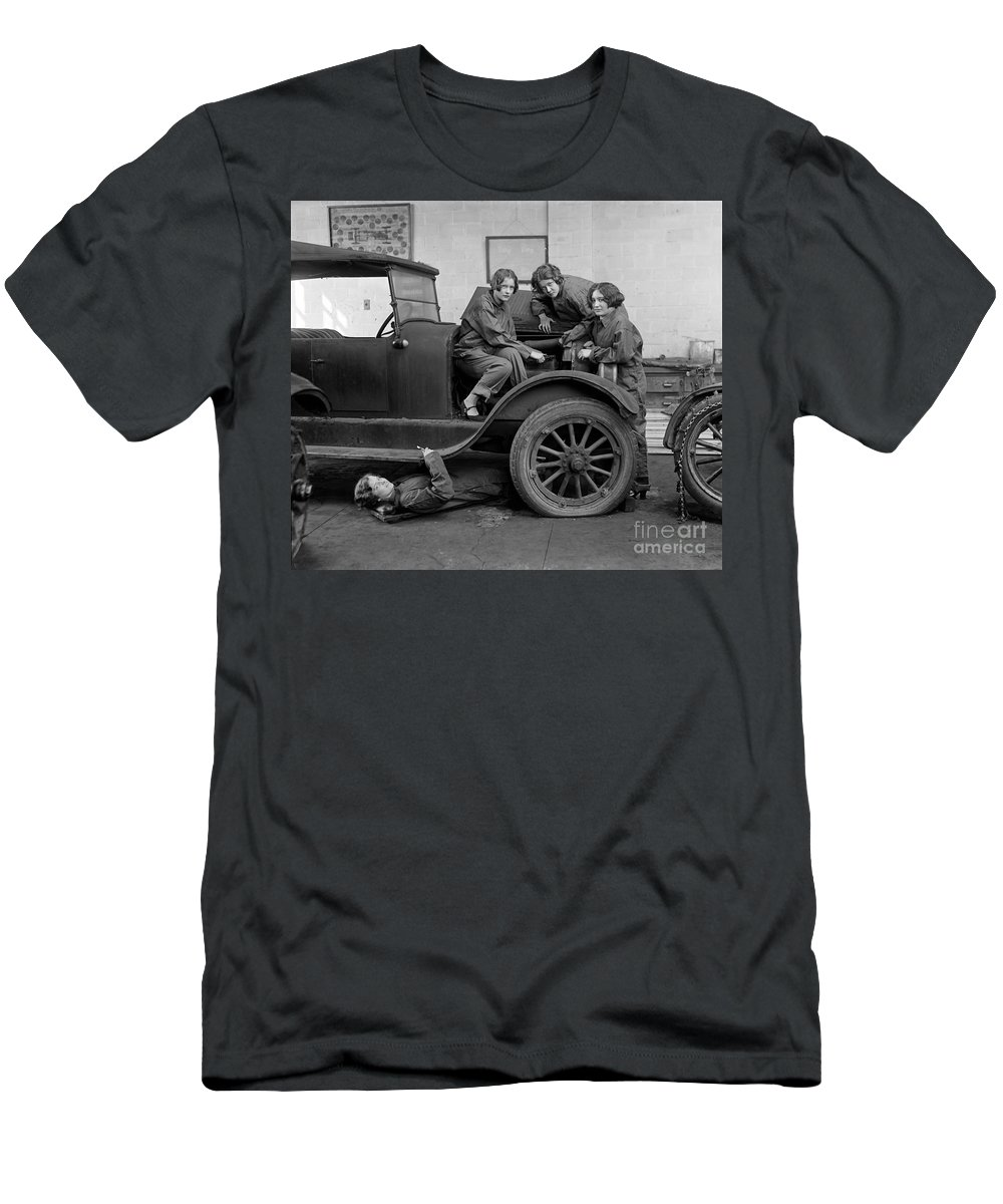 1927 Men's T-Shirt (Athletic Fit) featuring the photograph High School Mechanics 1927 by Granger