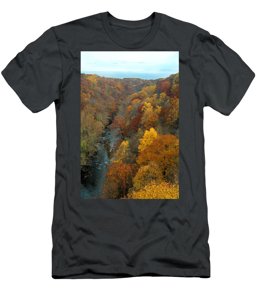 Fall Foliage Men's T-Shirt (Athletic Fit) featuring the photograph Highbridge Highs by Trish Hale
