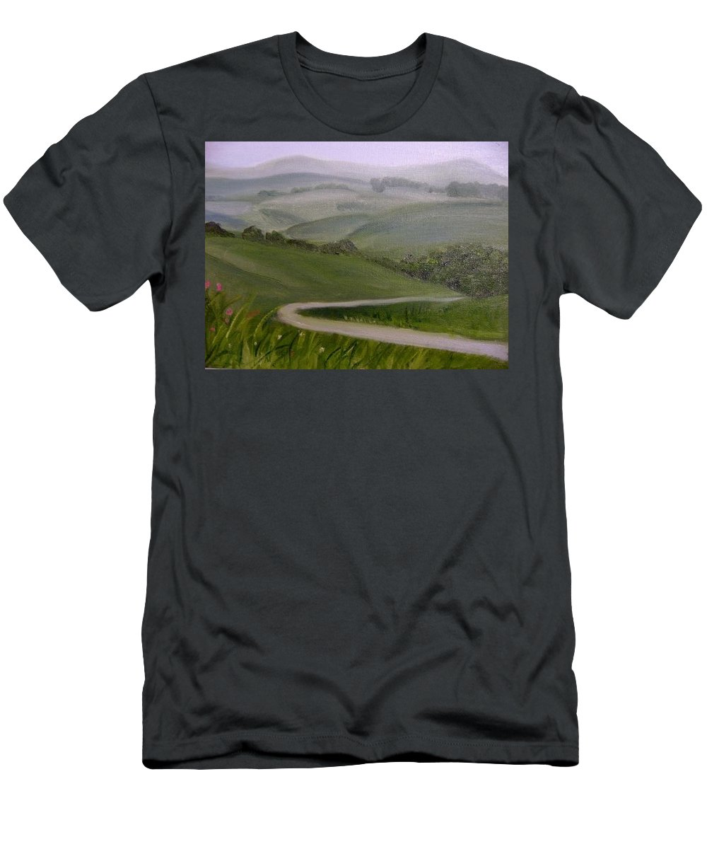 Pathway Men's T-Shirt (Athletic Fit) featuring the painting Highway Into The Hills by Toni Berry
