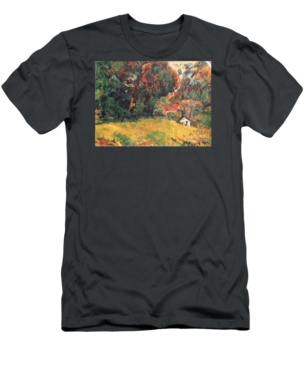 Tree T-Shirt featuring the painting On the Hill by Meihua Lu