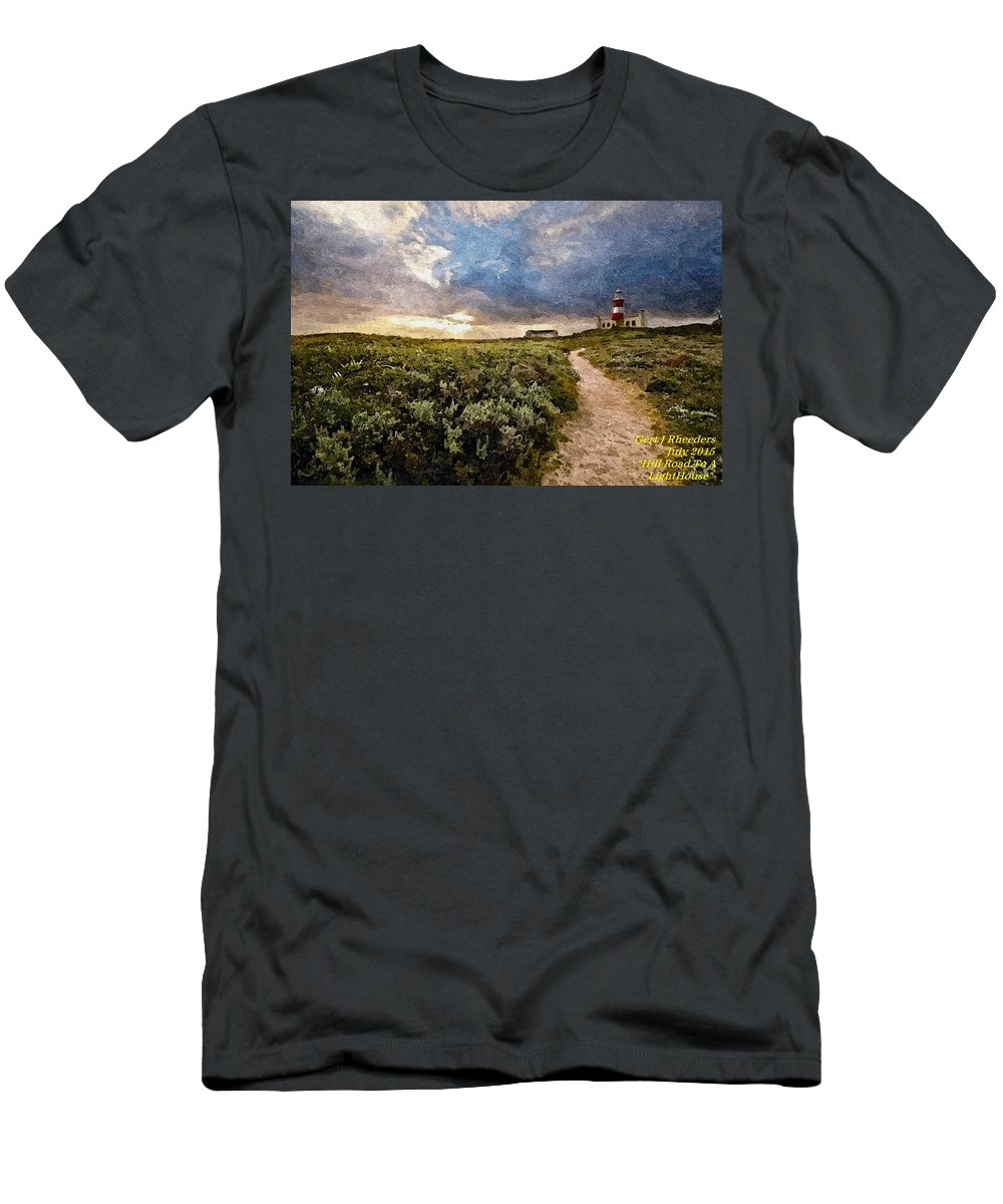 Announcement Men's T-Shirt (Athletic Fit) featuring the painting Hill Road To A Lighthouse H A by Gert J Rheeders