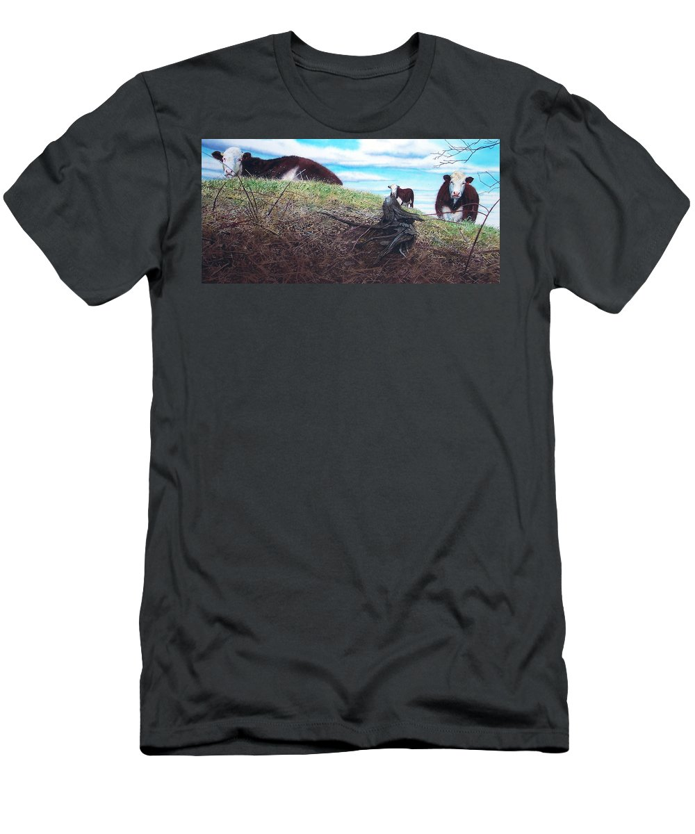 Steers Men's T-Shirt (Athletic Fit) featuring the painting Hillside Retreat by Denny Bond
