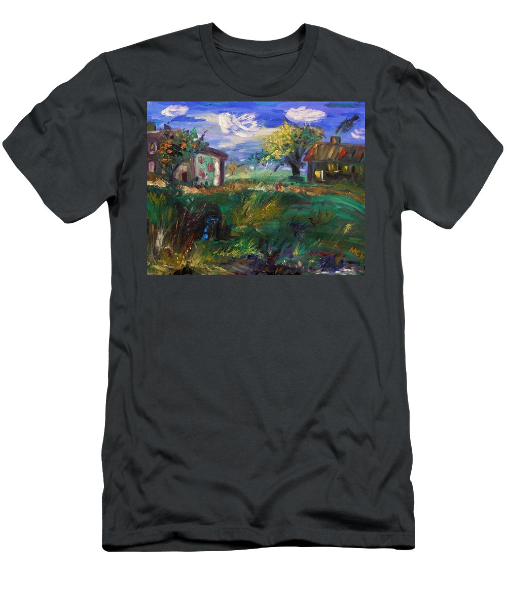 Landscape Men's T-Shirt (Athletic Fit) featuring the painting Hillside Tranquility by Mary Carol Williams