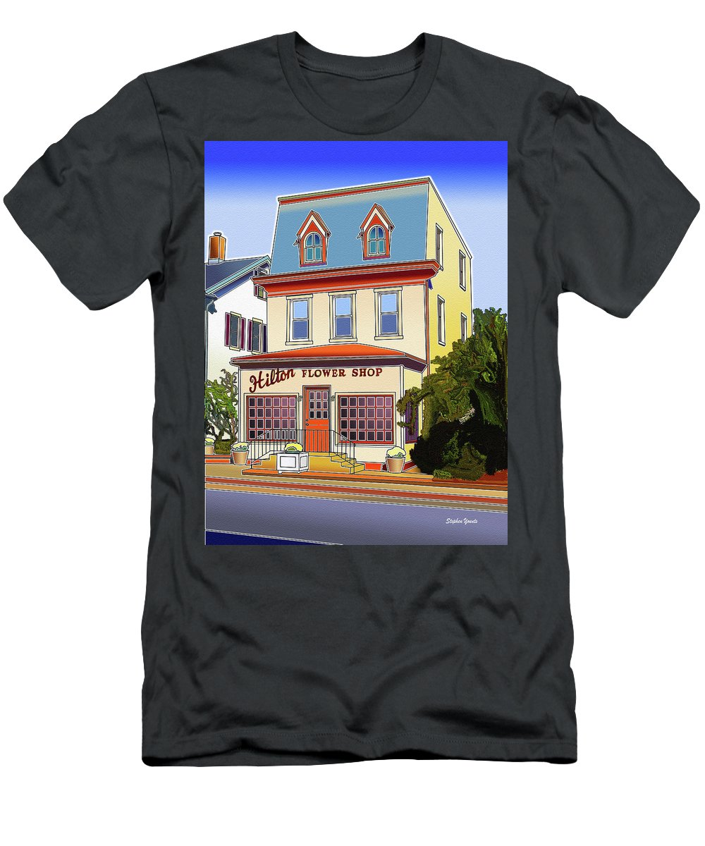 Catonsville Men's T-Shirt (Athletic Fit) featuring the digital art Hilton Flower Shop by Stephen Younts