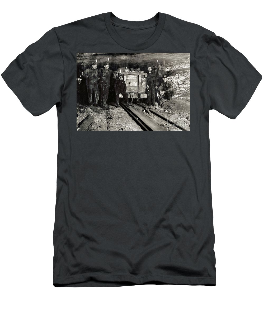1911 Men's T-Shirt (Athletic Fit) featuring the photograph Hine: Coal Miners, 1911 by Granger