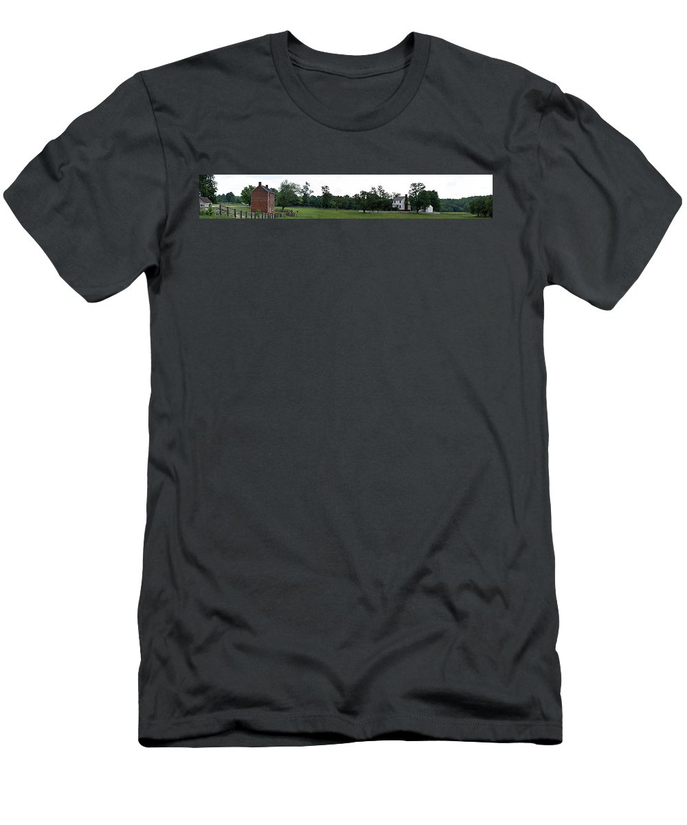 Appomattox Men's T-Shirt (Athletic Fit) featuring the photograph Historic Appomattox Panorama by Teresa Mucha