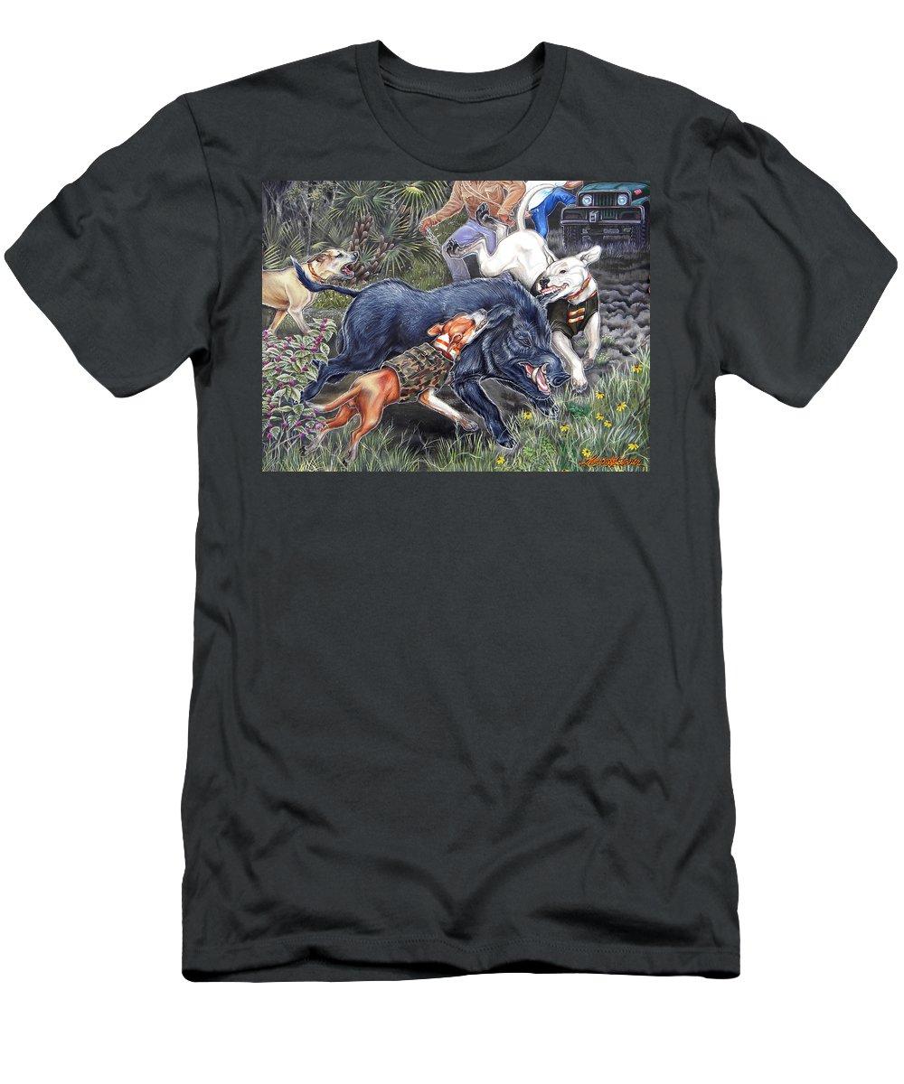 Hog Men's T-Shirt (Athletic Fit) featuring the painting Hog Hammock Earrings by Monica Turner