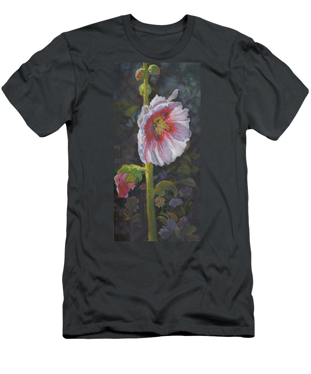 Flower Men's T-Shirt (Athletic Fit) featuring the painting Hollyhock by Heather Coen