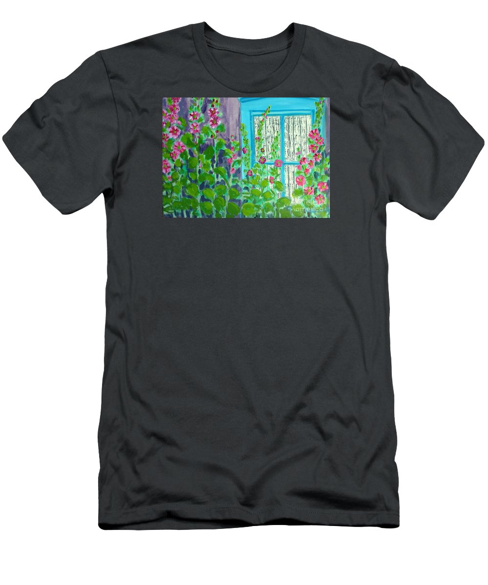 Hollyhocks T-Shirt featuring the painting Hollyhock Surprise by Laurie Morgan