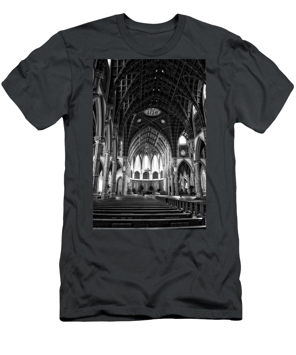 Holy Name Cathedral Men's T-Shirt (Athletic Fit) featuring the mixed media Holy Name Cathedral Chicago Bw 04 by Thomas Woolworth