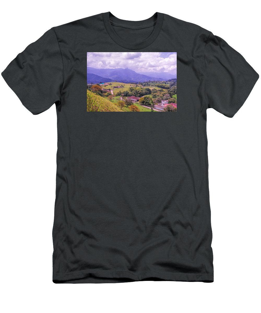 Mountain Landscape City View Color Men's T-Shirt (Athletic Fit) featuring the photograph Home Town Mountains by LOsorio Photography