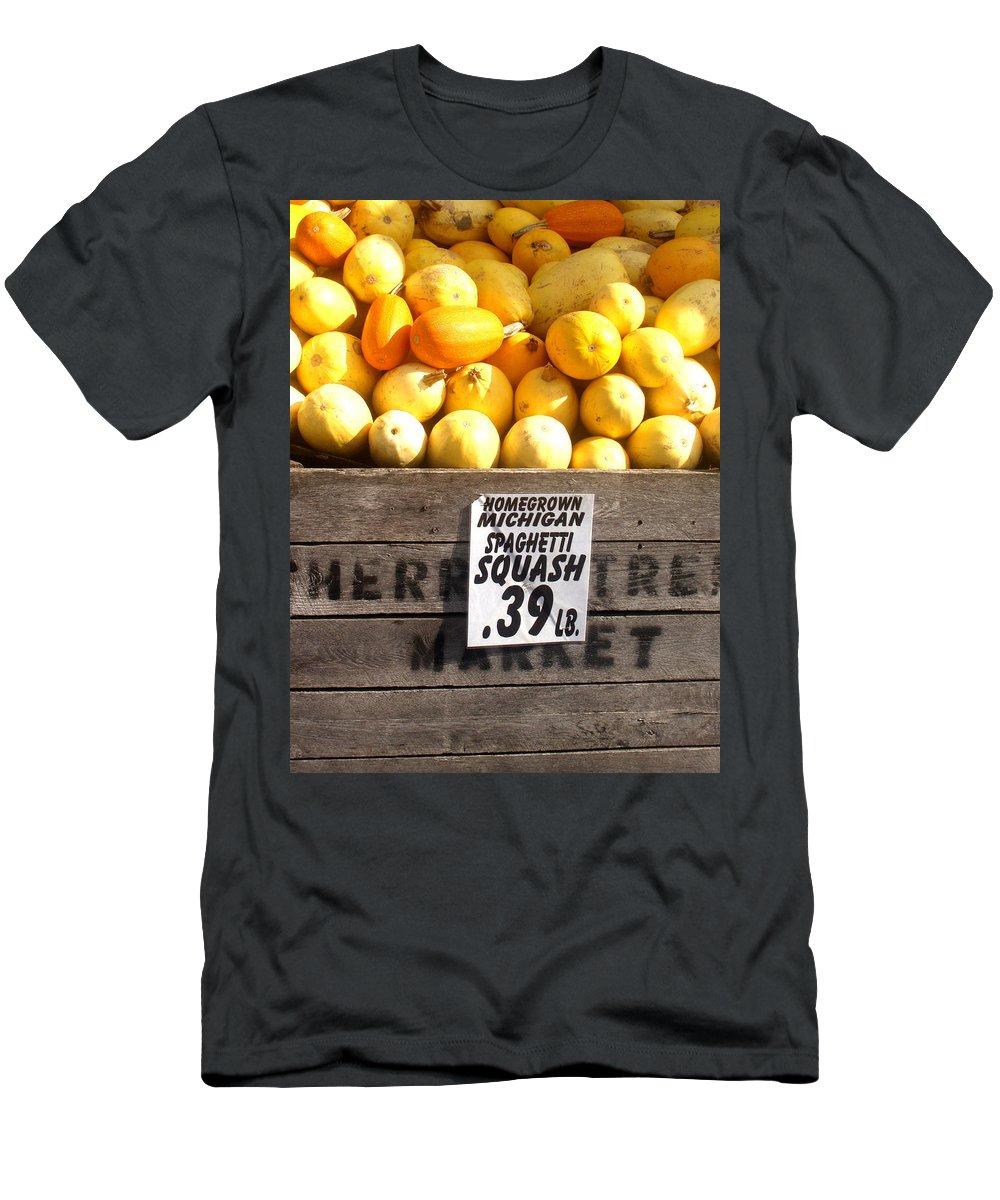 Michigan Men's T-Shirt (Athletic Fit) featuring the photograph Homegrown Michigan Spaghetti Squash by Wayne Potrafka