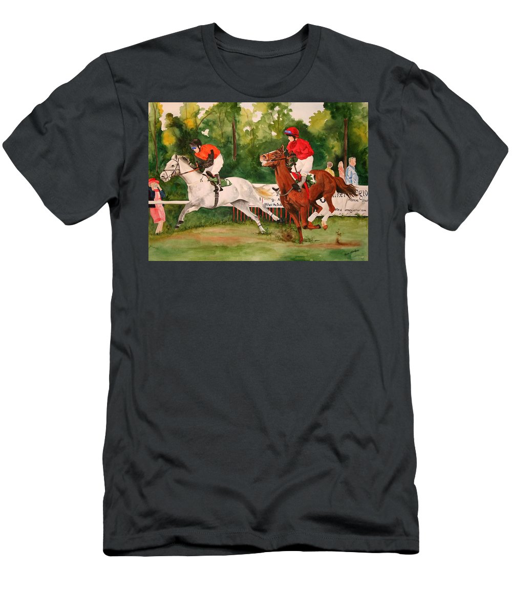 Racing Men's T-Shirt (Athletic Fit) featuring the painting Homestretch by Jean Blackmer