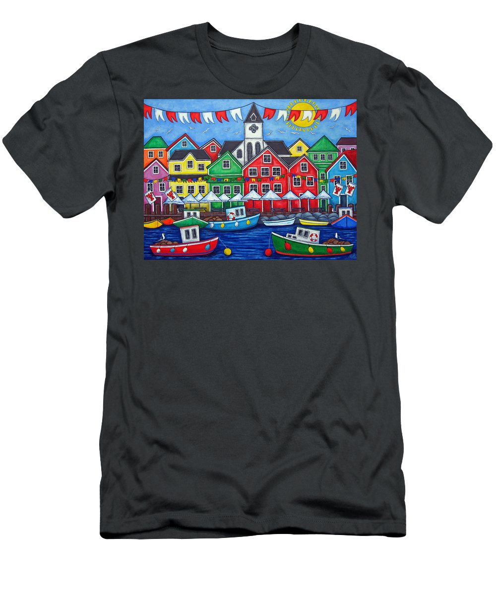 Boats Canada Colorful Docks Festival Fishing Flags Green Harbor Harbour Men's T-Shirt (Athletic Fit) featuring the painting Hometown Festival by Lisa Lorenz