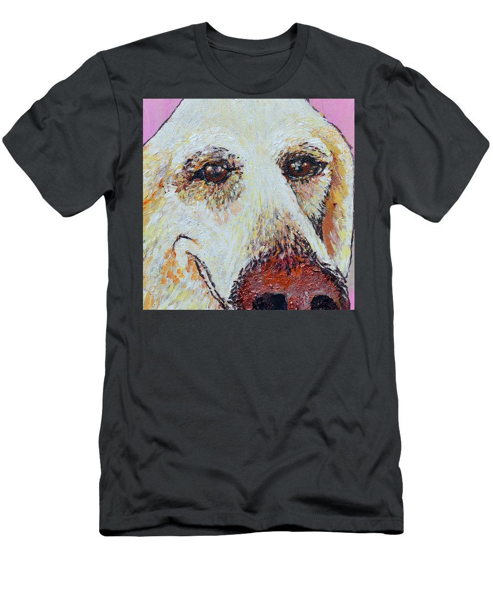 Pet Portraits Men's T-Shirt (Athletic Fit) featuring the painting Honey Love by Ashleigh Dyan Bayer