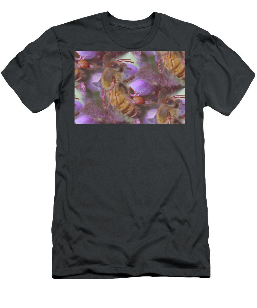 Bees Men's T-Shirt (Athletic Fit) featuring the photograph Honeybee At Work by Jeff Swan