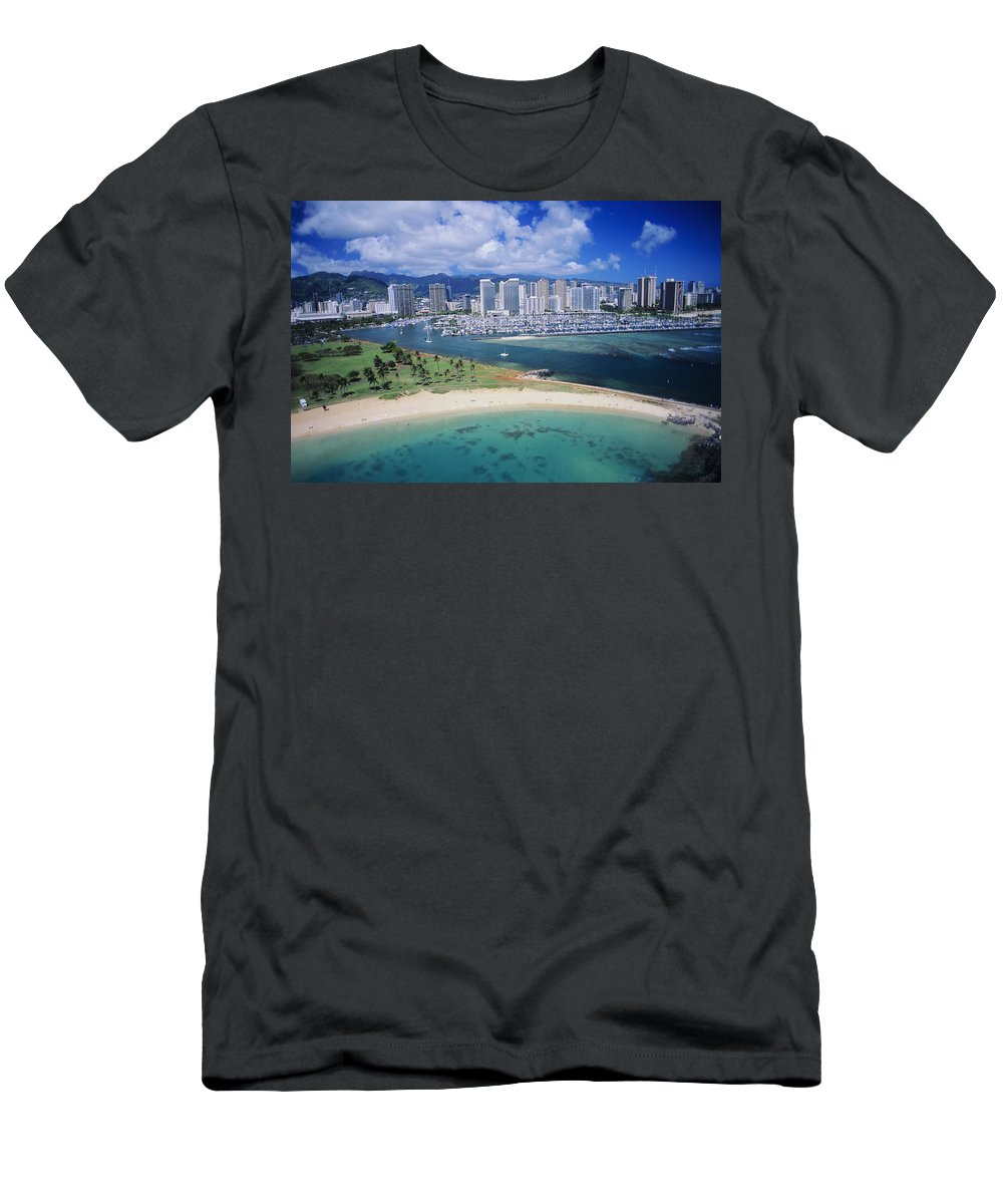 Above Men's T-Shirt (Athletic Fit) featuring the photograph Honolulu, Oahu by Dana Edmunds - Printscapes