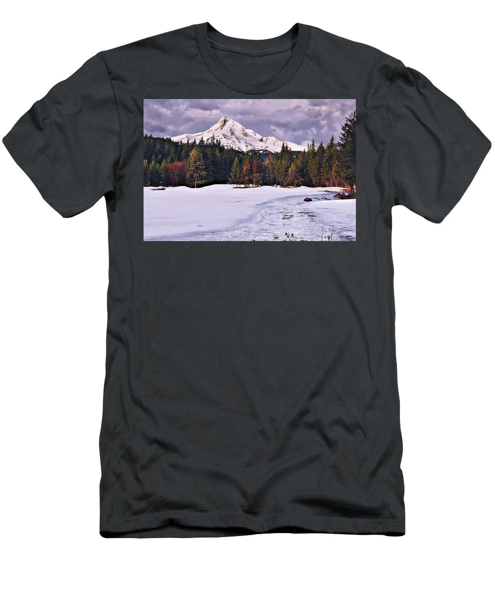 Mountain Men's T-Shirt (Athletic Fit) featuring the photograph Hood On Ice by John Christopher