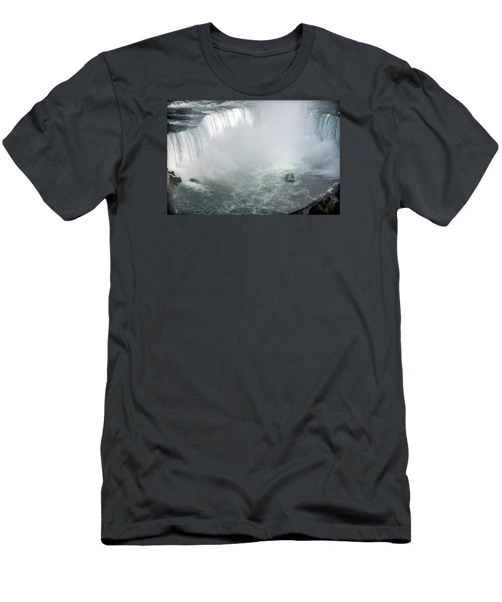 Horseshoe Niagara Falls Men's T-Shirt (Athletic Fit) featuring the photograph Hornblower Ferry At Horseshoe Falls by Ginger Wakem