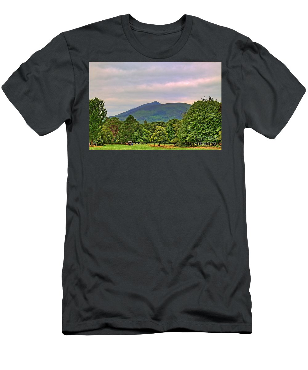 Horse Men's T-Shirt (Athletic Fit) featuring the photograph Horse Drawn Carriage At Muckross House by Paul Piszewski