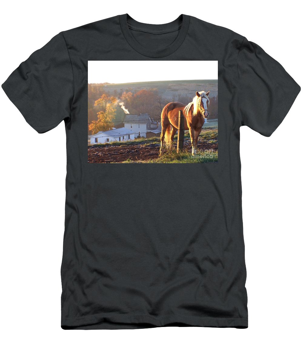 Horses Men's T-Shirt (Athletic Fit) featuring the photograph Horses In Autumn Frosty Sunrise by Charlene Cox