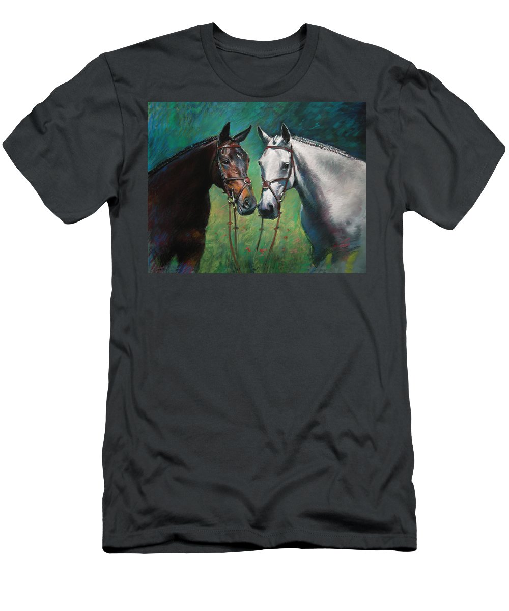 Horses Men's T-Shirt (Athletic Fit) featuring the pastel Horses by Ylli Haruni