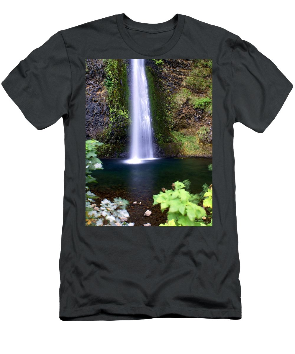 Waterfalls Men's T-Shirt (Athletic Fit) featuring the photograph Horsetail Falls by Marty Koch
