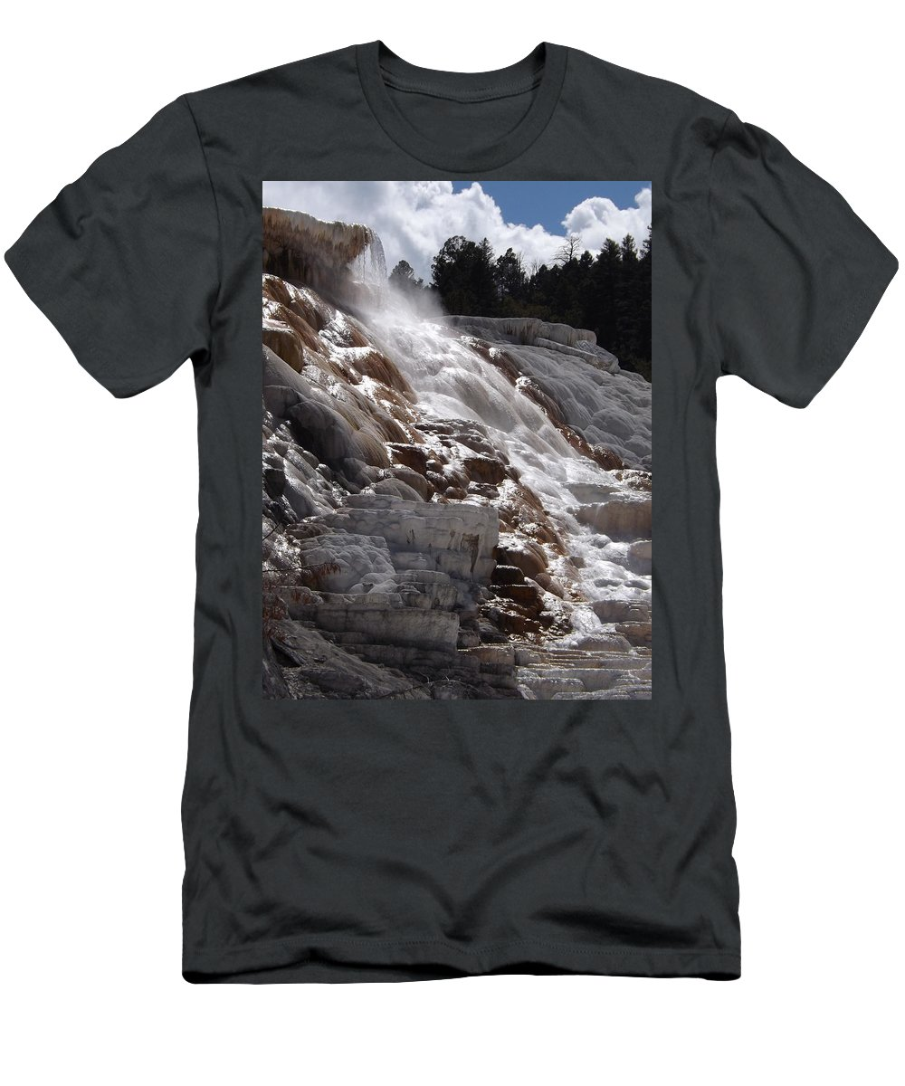 Hot Spring Men's T-Shirt (Athletic Fit) featuring the photograph Hot Spring Fountain by Norman Vedder