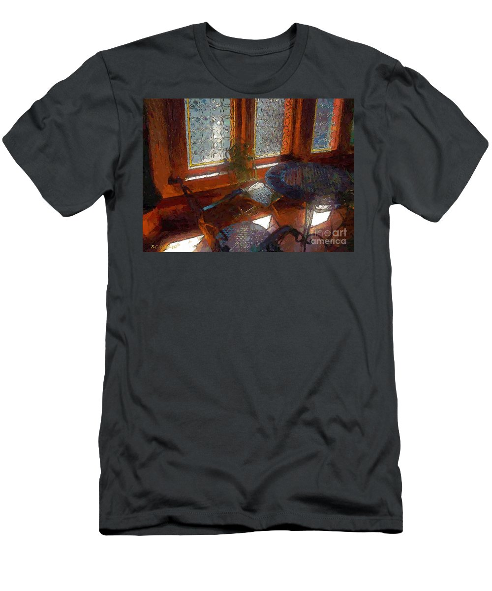 Chairs T-Shirt featuring the painting Hot Sun on Wrought Iron by RC DeWinter