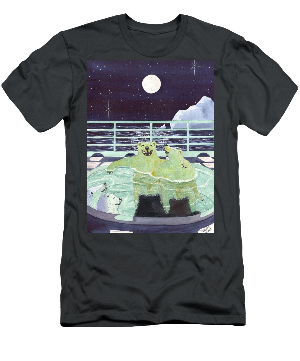 Bears Men's T-Shirt (Athletic Fit) featuring the painting Hot Tubbin by Catherine G McElroy