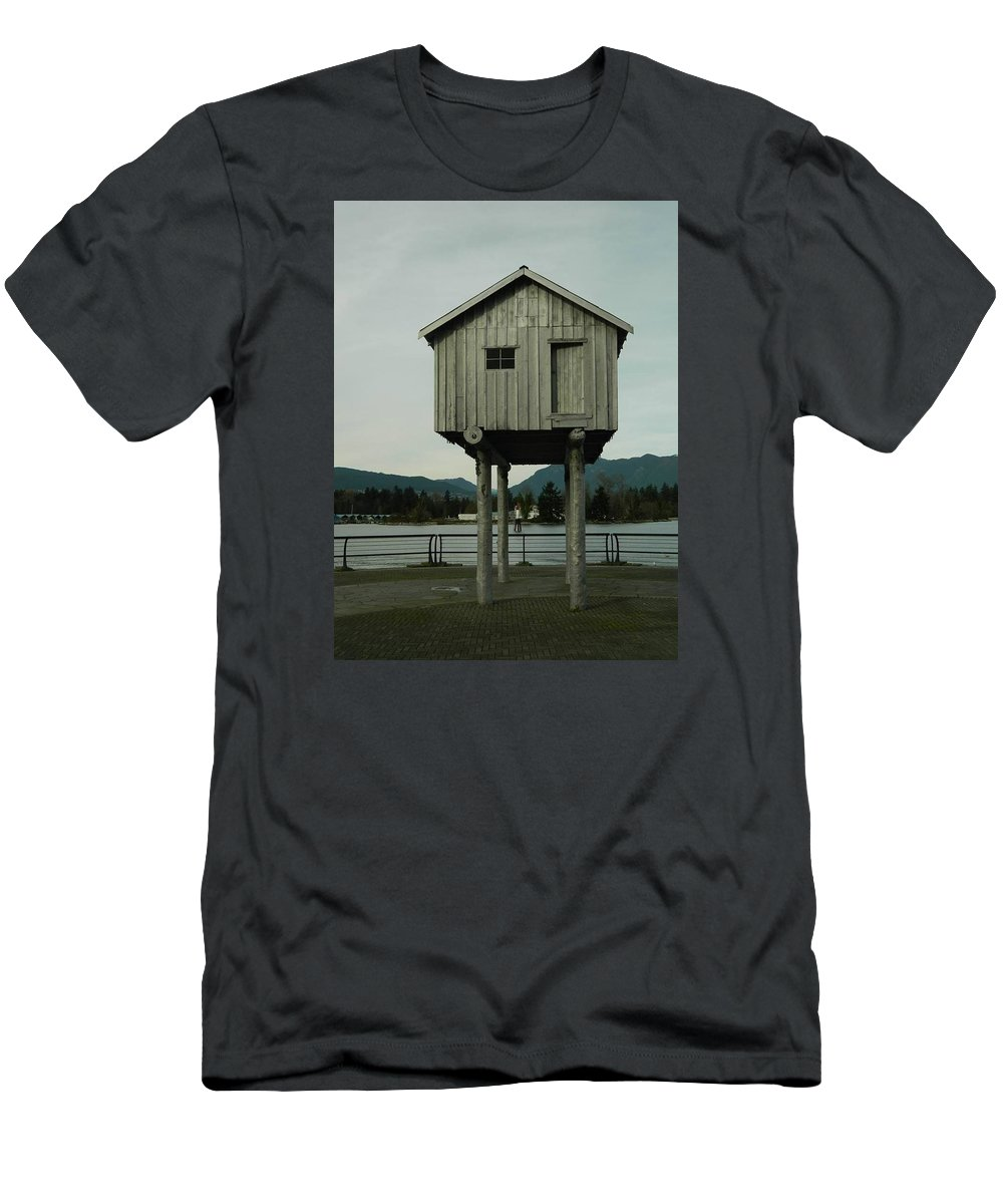 Vancouver Men's T-Shirt (Athletic Fit) featuring the photograph House On Stilts, Coal Harbour Vancouver by Helen Orth