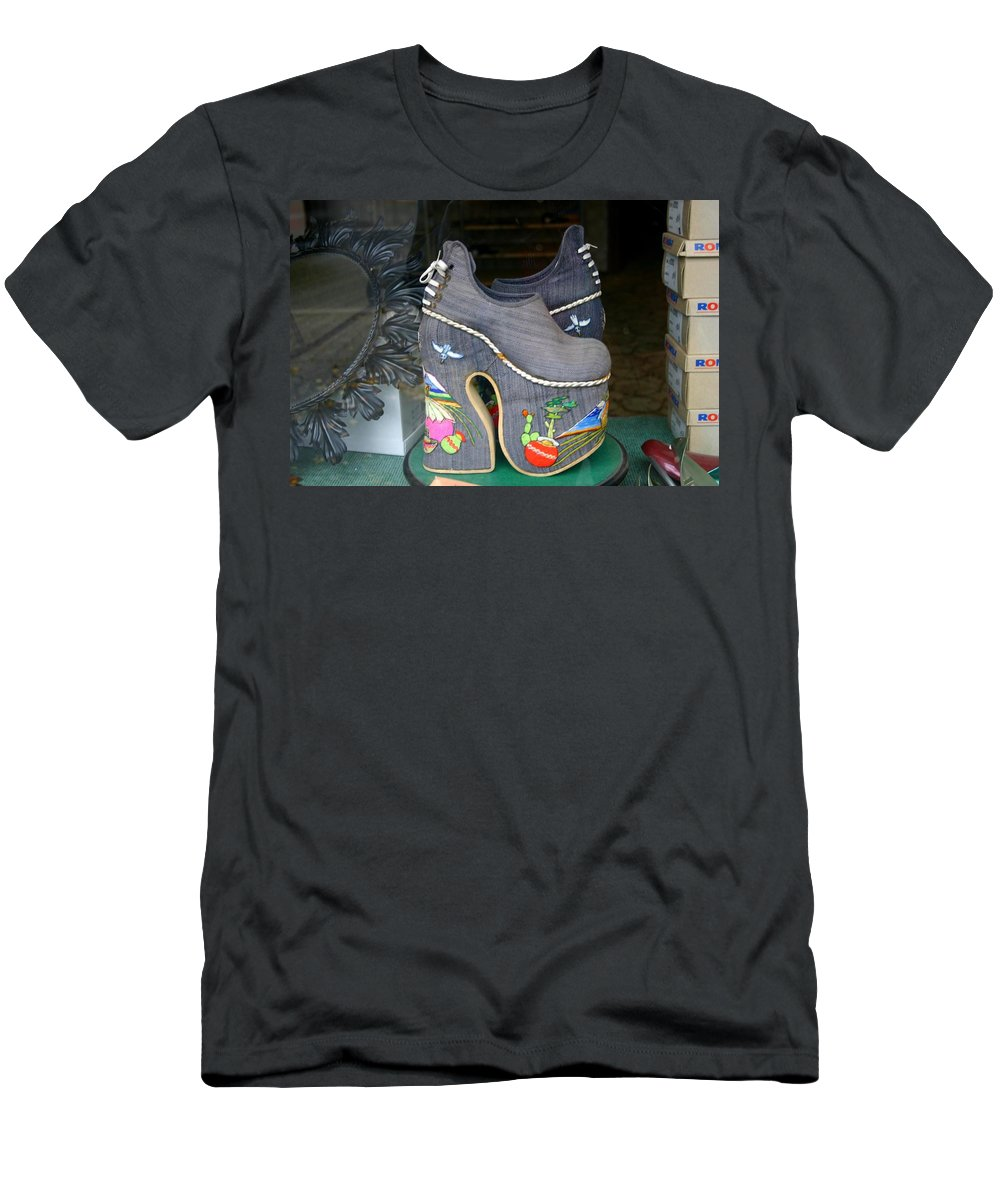 Shoes Men's T-Shirt (Athletic Fit) featuring the photograph How Much Are Those Shoes In The Window by Minaz Jantz