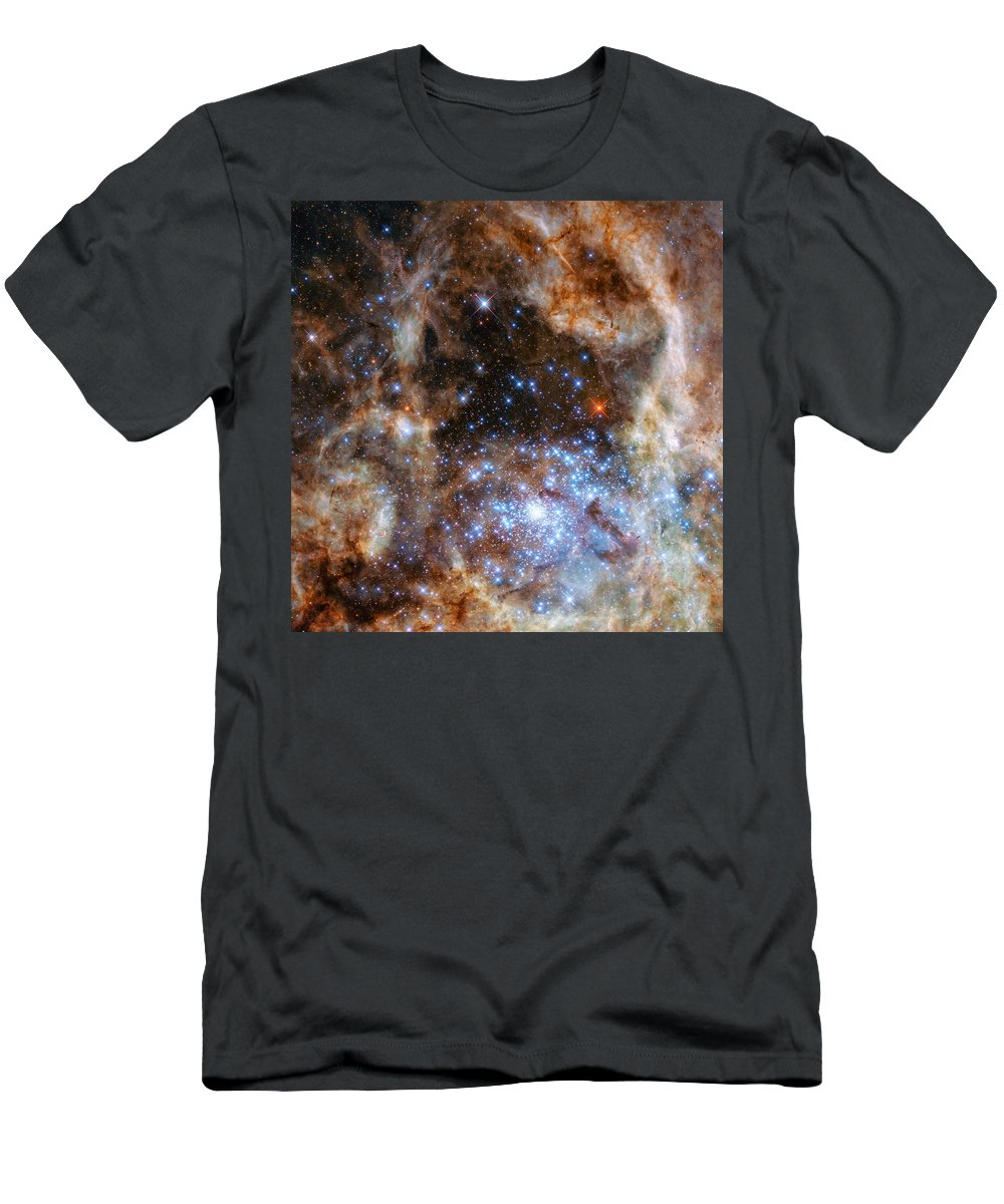 Hubble Men's T-Shirt (Athletic Fit) featuring the photograph Hubble Finds Massive Stars by Nasa - Esa