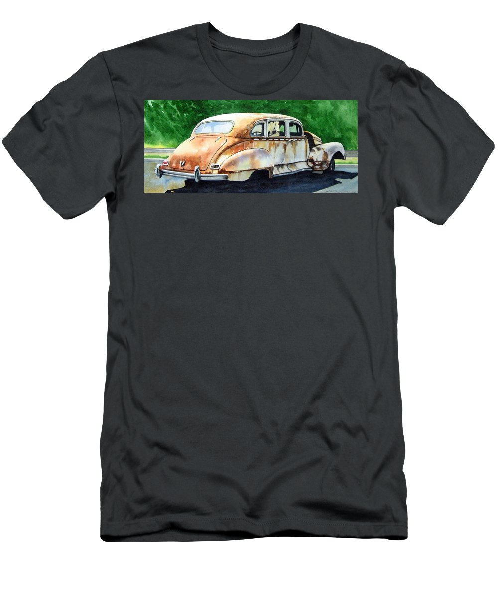 Hudson Car Rust Restore T-Shirt featuring the painting Hudson Waiting For a New Start by Ron Morrison