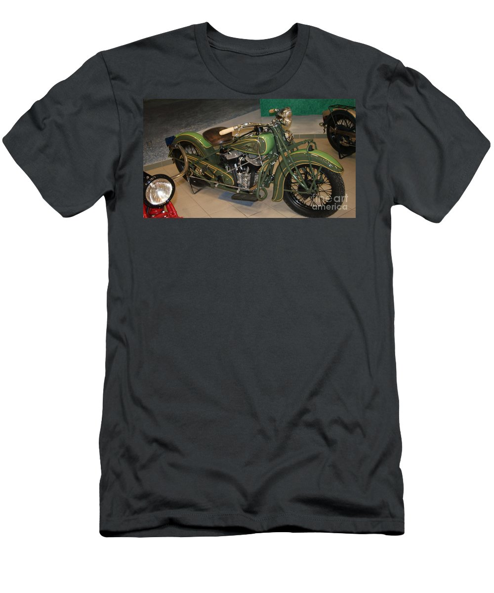 Indian Men's T-Shirt (Athletic Fit) featuring the photograph Hunter Green Indian Motorcycle...  # by Rob Luzier